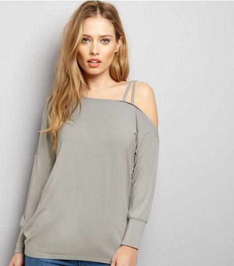 Grey Off the Shoulder Jumper  | New Look