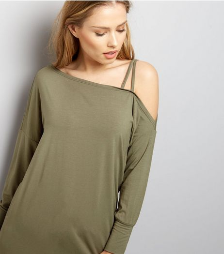 Khaki Off The Shoulder Jumper  | New Look