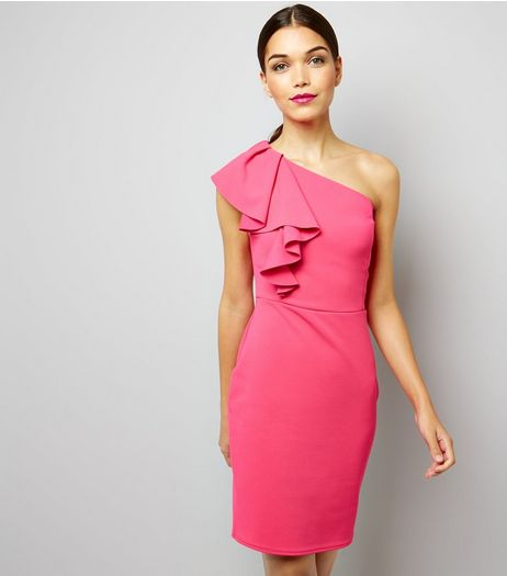 Bright Pink Off the Shoulder Frill Trim Bodycon Dress | New Look