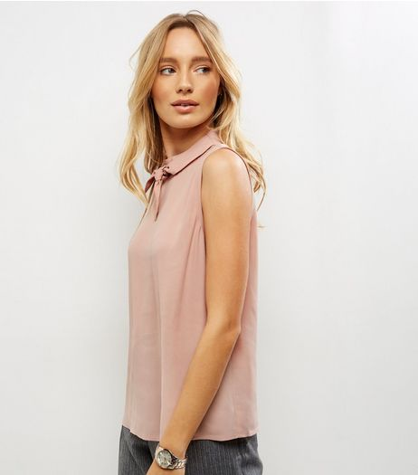 Shell Pink Bow Neck Sleeveless Top | New Look
