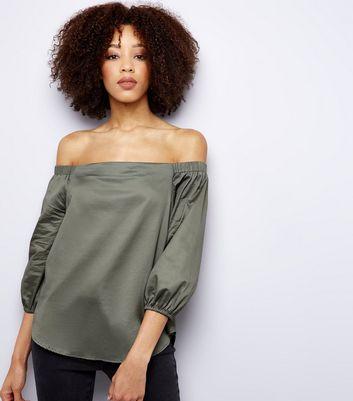 Khaki 3/4 Sleeve Bardot Neck Top