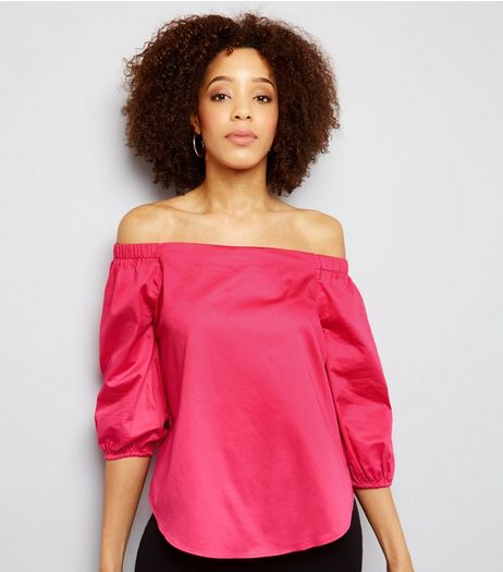 Bright Pink 3/4 Sleeves Bardot Neck Top  | New Look