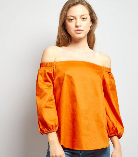 Orange 3/4 Sleeve Bardot Neck Top | New Look