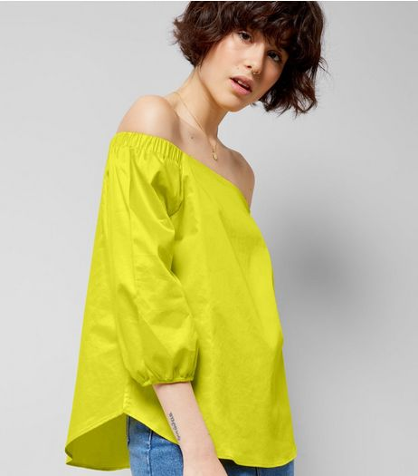 Yellow Bardot Neck 3/4 Sleeve Top | New Look