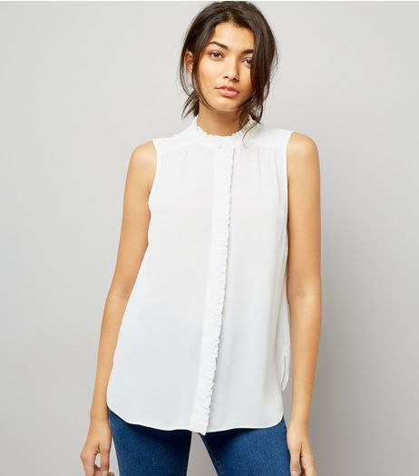 Cream Frill Trim Sleeveless Top | New Look