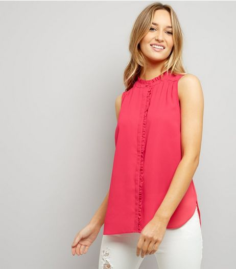 Bright Pink Frill Trim Sleeveless Shirt  | New Look