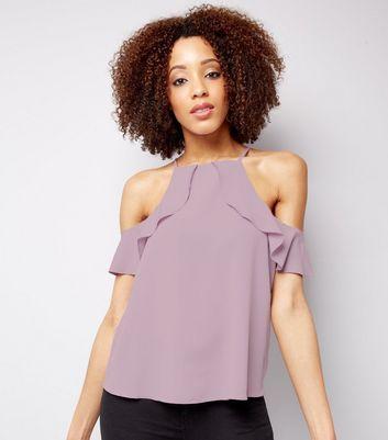 Lilac Frill Trim Cold Shoulder Top
