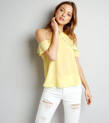 Yellow Frill Trim Cold Shoulder Top