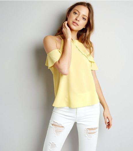 Yellow Frill Trim Cold Shoulder Top  | New Look