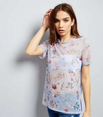 Lilac Mesh Floral Print T-Shirt