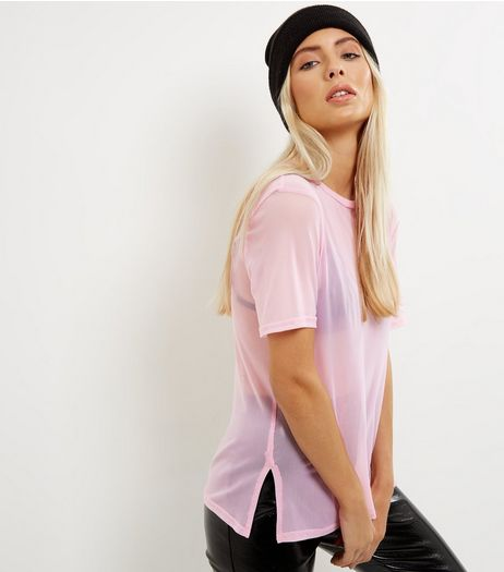 Pink Mesh Oversized T-Shirt | New Look