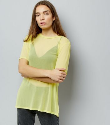 Yellow Mesh Oversized T-Shirt