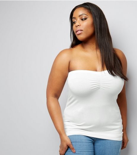 Curves White Bandeau Top | New Look