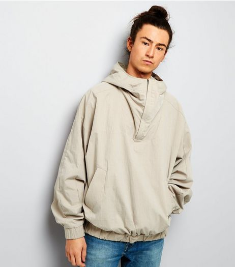 Stone Hooded Pullover Jacket | New Look