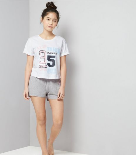 Teens White Spliced California Pyjama Set | New Look