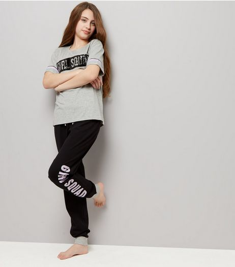 Teens Black Girl Squad Sequin Pyjama Set | New Look