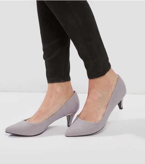 Wide Fit Grey Comfort Suedette Metal Trim Court Shoes | New Look