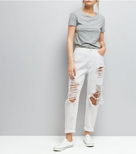 White Ripped Mom Tori Jeans  | New Look
