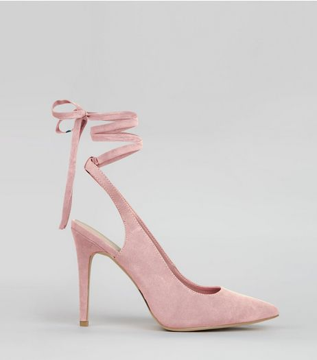 Wide Fit Pink Pointed Tie Up Heels | New Look