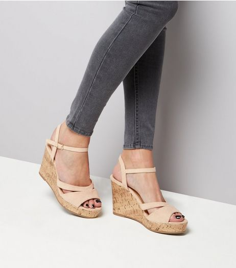 Wide Fit Nude Suedette Wedges  | New Look