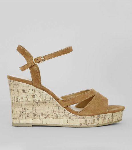 Wide Fit Tan Suedette Cork Wedge Heels | New Look