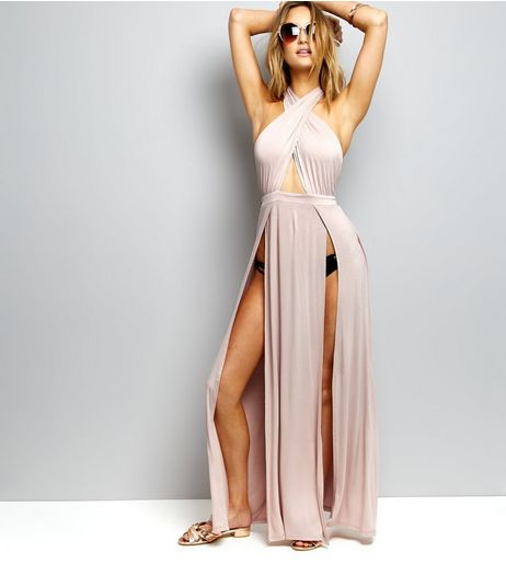 Shell Pink Jersey Split Front Maxi Dress | New Look