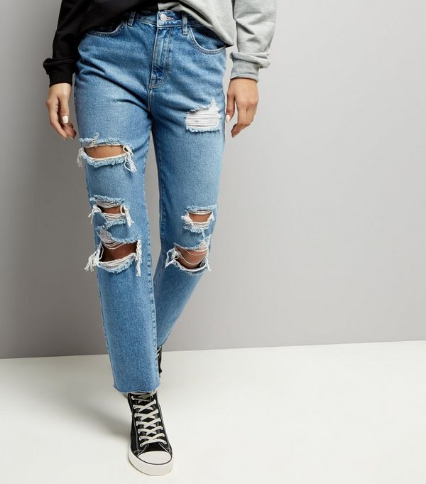 Blue Ripped Straight Leg Jeans