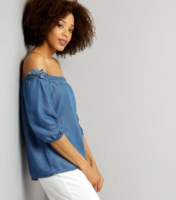 Blue Tie Detail Bardot Top