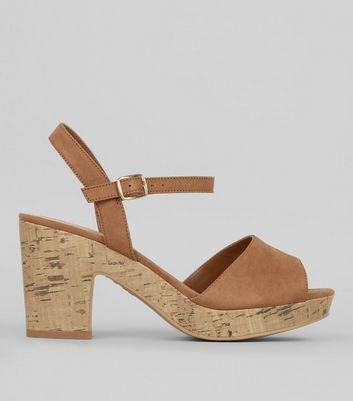 Wide Fit Tan Suedette Heeled Sandals  | New Look