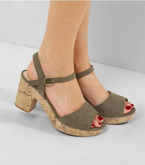 Wide Fit Khaki Suedette Ankle Strap Platform Heels  | New Look