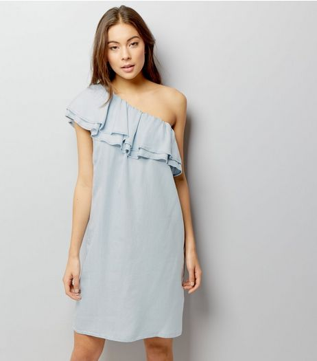Pale Blue One Shoulder Frill Trim Dress | New Look