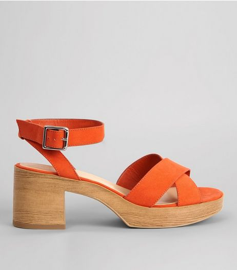 Wide Fit Orange Suedette Wooden Platform Heels | New Look