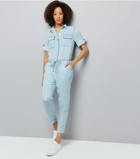 Blue Tie Waist Denim Jumpsuit  | New Look