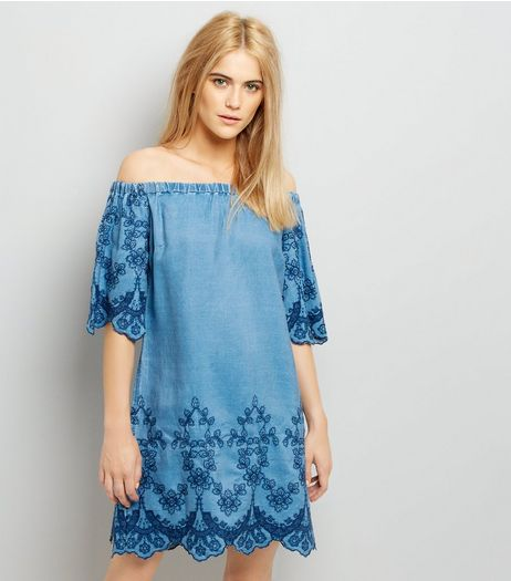Blue Bardot Floral Embroidered Denim Dress | New Look