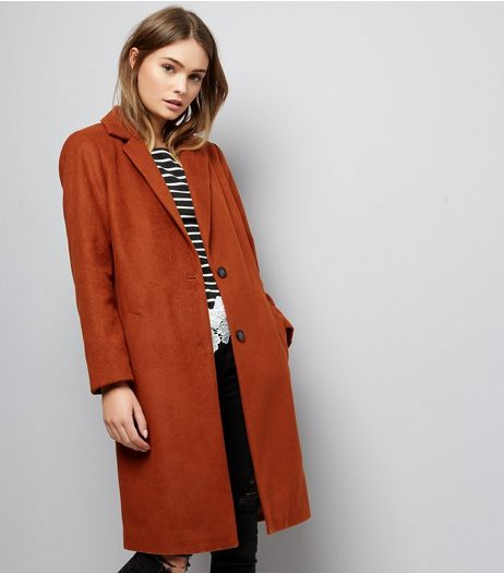 Tan Button Front Coat | New Look