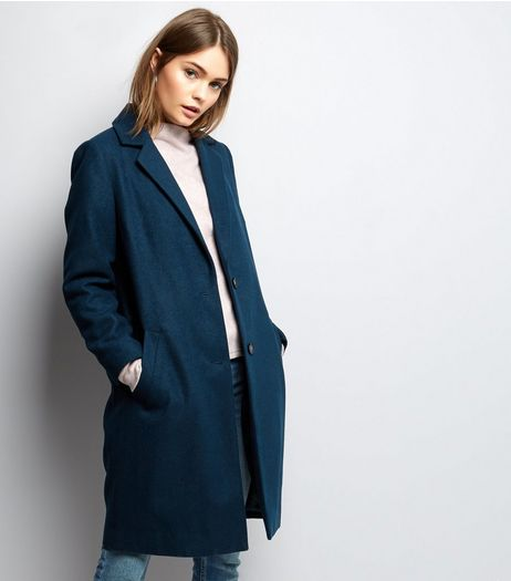 Dark Green Button Front Longline Coat | New Look