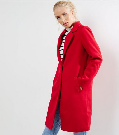 Red Longline Coat  | New Look