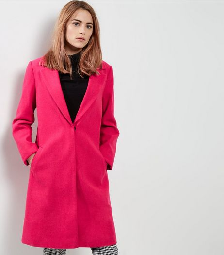 Pink Longline Coat | New Look