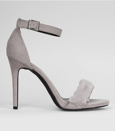 Wide Fit Grey Faux Fur Strap Heels | New Look