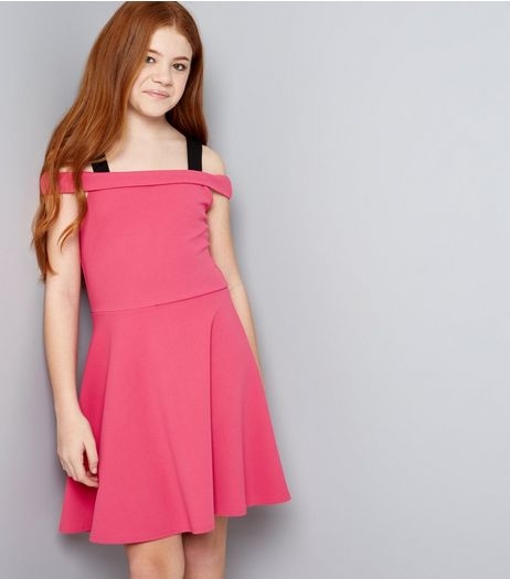 Teens Bright Pink D Ring Cold Shoulder Scuba Skater Dress | New Look