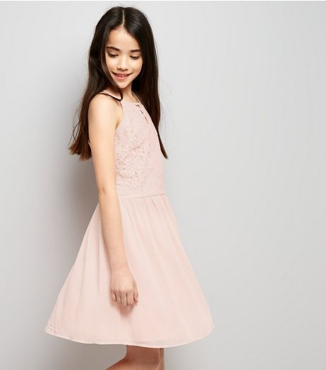 Teens Pink Lace Lattice Front Skater Dress | New Look