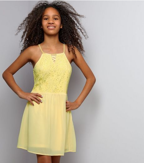 Teens Yellow Lace Lattic Front Skater Dress | New Look