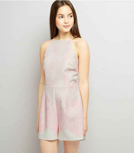 Teens Pink Bonded Lace Scuba Playsuit | New Look
