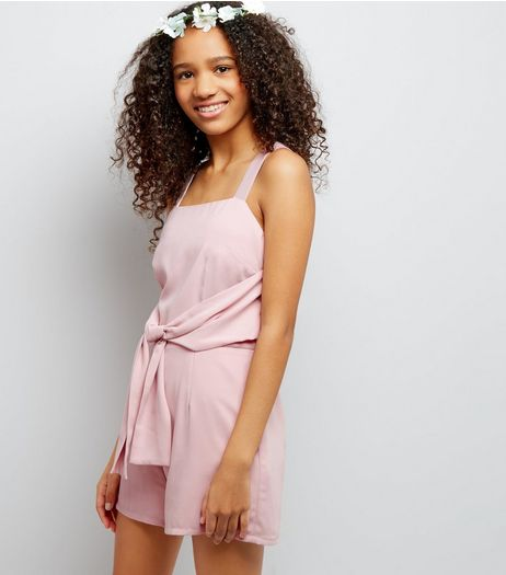 Teens Shell Pink Tie Front Playsuit | New Look