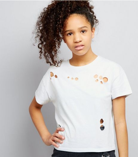 Teens White Ripped Short Sleeve Crop Top | New Look