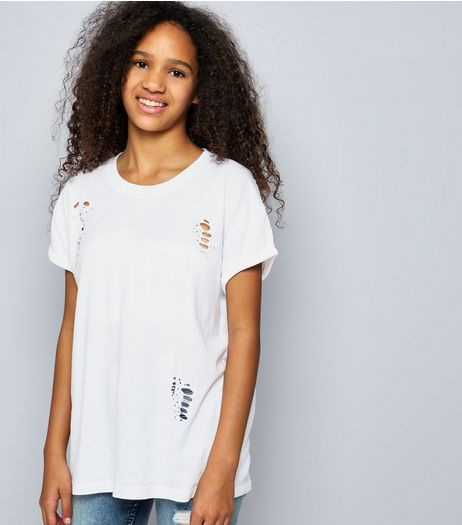 Teens White Ripped Boyfriend T-Shirt | New Look