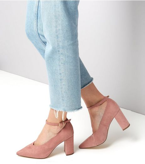 Wide Fit Pink Suedette Pointed Block Heels | New Look