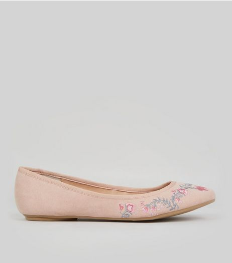 Wide Fit Nude Suedette Floral Embroidered Pumps | New Look