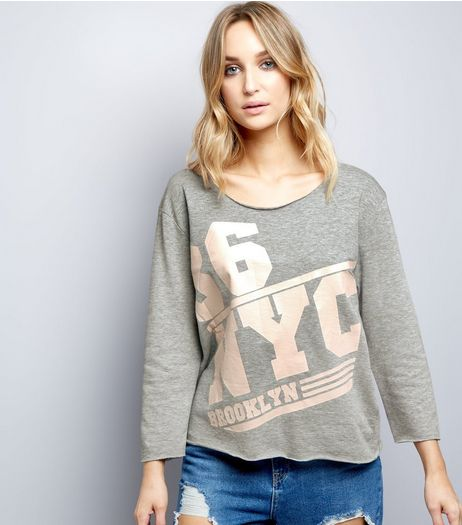 JDY Pale Grey NYC Print Sweater  | New Look