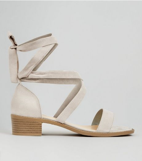 Teens Grey Suedette Tie Up Sandals | New Look